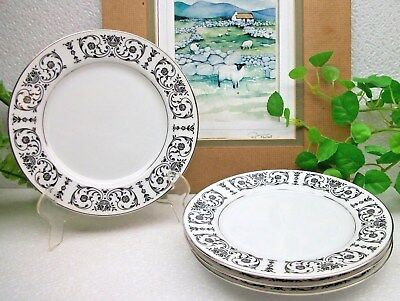 """4  Rare  NOS  Royal Song Fine China  TROUSSEAU  6 5/8""""  Bread or Pie Plates"""