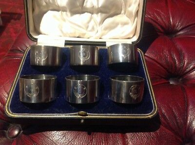 Set of 6 antique numbered silver plated napkin rings, in original box.