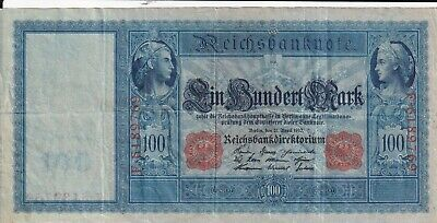 Germany 100 Mark 1910 red seal,  Large size note (B376)