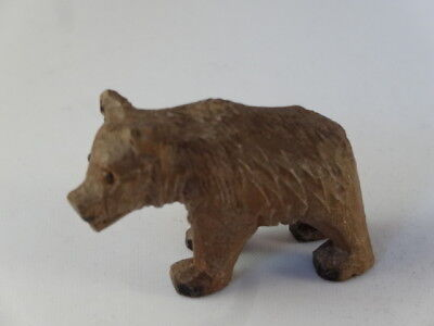 Antique Wooden BLACK FOREST BEAR ANIMAL FIGURE Carved With Glass Eyes