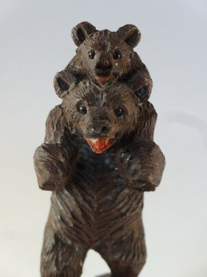 Antique Wooden BLACK FOREST BEAR FIGURE Carrying a Cub Carved With Glass Eyes