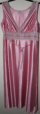 Vintage silky nylon pink nightdress nightie lace trim.  Size OS, chest to 44""
