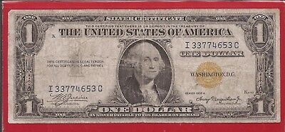 1935 A $1 Silver Certificate North Africa WW II note,Yellow Seal,Fine,Nice!