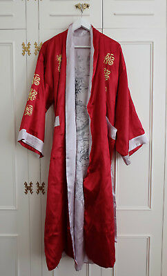 Reversible Red & Silver Japanese Embroidered Kimono Jacket Robe Dressing Gown