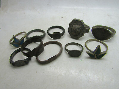 Lot of ancient Roman to post Medieval bronze and silvered rings