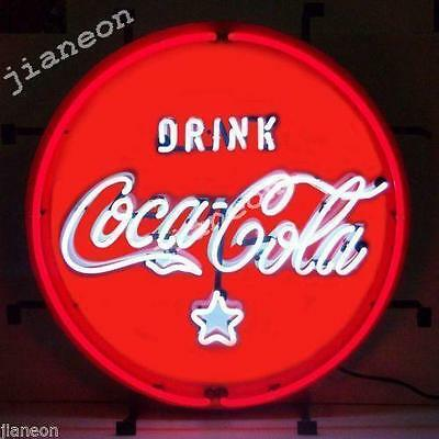 "RARE 24""X24"" Coca-Coke-Cola Soda Drink REAL NEON SIGN BEER BAR LIGHT Free Ship"