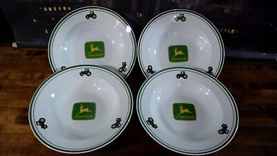 """JOHN DEERE SOUP BOWL PLATE 9"""" SET OF 4 by GIBSON"""