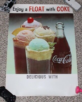 Lot of 18 Vintage Original Enjoy Float with COKE Posters 28x20 Coca-Cola Soda Ad