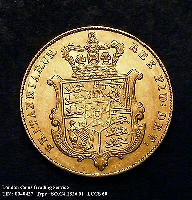 EF 1826 Gold Sovereign. Graded and encapsulated, CGS60.(AU58-MS60)