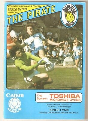 FA Cup 1st round Programme 1984 - Bristol Rovers v Kings Lynn FC
