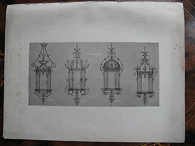 Ceiling Light  Lamp Fixture Light Fitting   c1870 Photogravure