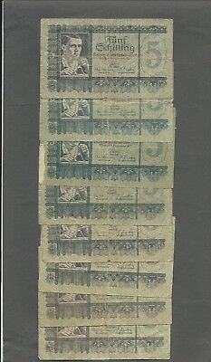 Austria P-121-6,126-2 5 Schilling 1945,51 circulated 8 notes