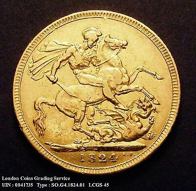 GVF 1824 Gold Sovereign. Graded and encapsulated, CGS45.(AU53)
