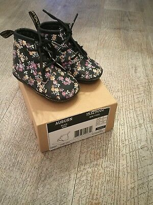 Baby Girls Dr Martens Boots With Flowers. Auburn Size 18 / 2