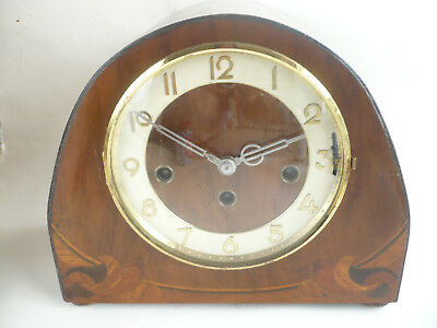 Rare Vintage Bee Hive Triple Chime Walnut With Marquetry German Art Deco Clock