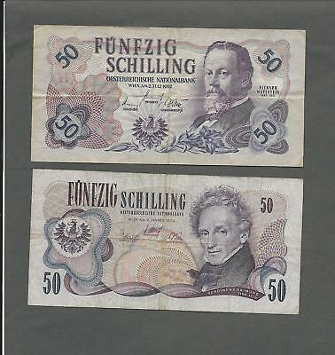 Austria P-137,143 50 Schilling 1962,70 circulated 2 notes