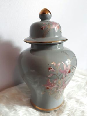 Antique Fine China Collectible Jar Asian Flower Print Light Blue Gold Trim