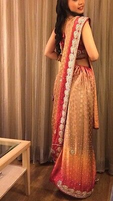 Heavy Embroidered Three Piece Sari/Saree in Sunrise Ombre Colour