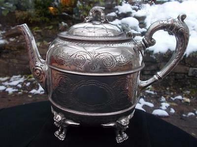 Mysterious 1860S Philip Ashberry Silver Plate Teapot Winged Cats Occult Witches