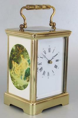 GRANDE L'EPEE CARRIAGE CLOCK painted enamel panels EXCELLENT WORKING ORDER