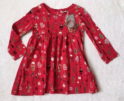 ***BNWT Next baby girl Red Christmas long sleeve cotton dress 1,5-2 years***