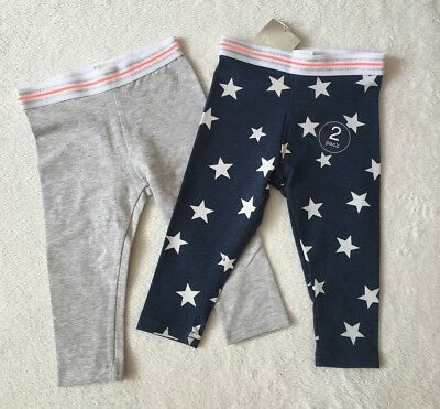 ***BNWT Next baby girl Navy/Grey Stars party leggings 2 pack set 6-9 months***