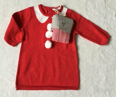 ***BNWT Next baby girl Red Christmas knitted dress and tights set 0-3 months***