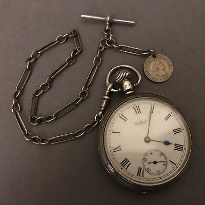 FINE Antique Solid Silver Waltham Co Pocket Watch & Long Link Albert Chain 123g
