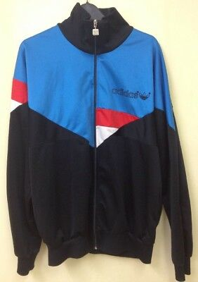 "Mens Vintage 1980s Adidas Black Blue Red White-Tracksuit Top-Medium- 42/44""chest"