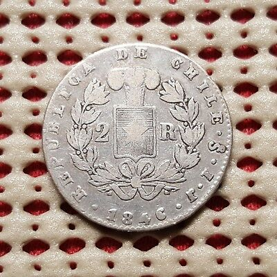 1846 Chile 2 Reales Silver Coin Scarce KM 100.2