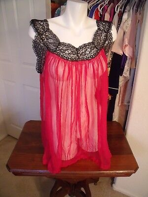 Vtg Chevette Pure Silk SHEER pink & black lace shortie chemise nightie