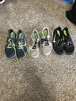 Nike Free 5.0 + Mens Running Shoes LOT OF 3. Size 11.5 Black, grey, blue/geeen