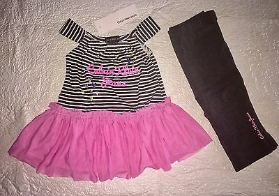 NWT Calvin Klein Baby Girls Outfit Tunic Top Grey White Pink Leggings Set 12 Mo