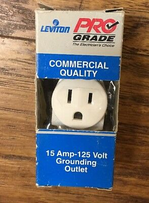 Leviton 5015-WSP 2-Pole 3-Wire Grounding Outlet 15-Amp 125-Volt - White