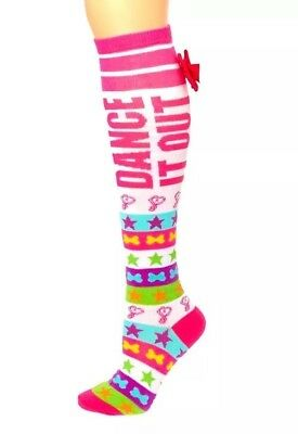 Jojo Siwa Dance It Out Knee High Socks With Cute Pink Mini Signature Bow - New