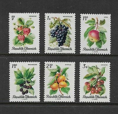 AUSTRIA 1966 Fruits, mint set of 6, MNH MUH