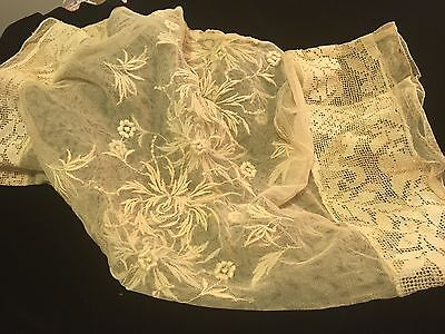 Moprimitivepast Stunning Antique 1920s Boudoir Lace Embroidery Trim Pillow Cover