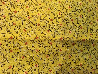 Moprimitivepast Antique Mustard Yellow Calico Red sprigs Pa Quilt Fabric Aafa