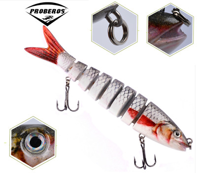 "5.3"" Multi Jointed Fishing Lure Bait Bass Crank Minnow Swimbait Life Like Pike"