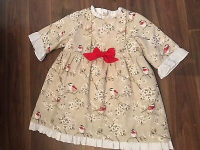 Baby Girls Spanish dress with Robin detail Size 3 Years