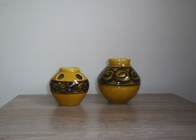 Brixham Pottery 2 Vases Mustard Glaze Brown Swirl Design Small 1 Is A Posy Vase.