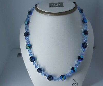 """Gorgeous Austrian Crystal Light Sapphireb And  Montana Ab Necklace 17"""""""