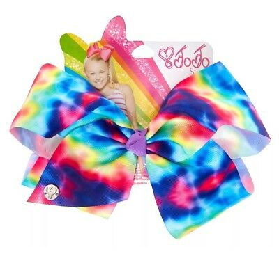 JoJo Siwa Large Rainbow Tie Dye Signature Hair Bow NWT