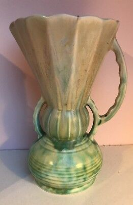 Large Beswick dripware mottled green cream purple vase #394-2 Art Deco Vintage