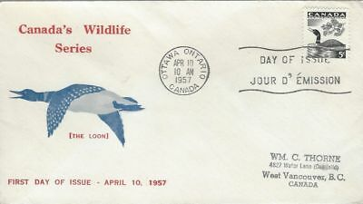 1957 Canadian Wildlife #369 Loon FDC with Personal cachet