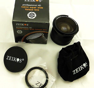 .40x Super Wide Angle Fisheye Lens Adapter ZE-3458F 52/58mm Nikon Canon Olympus