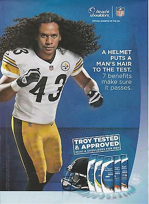 2013 Steelers Troy PolaMalu for Head & Shoulders print ad  Great to frame!