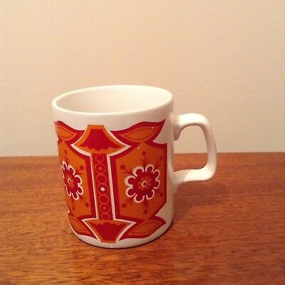 Retro 1970s Staffordshire Mug. Red And Orange. Vintage