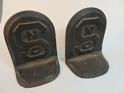 Pair of 2 Vintage NORTH CAROLINA NC STATE College University Cast Iron Bookends