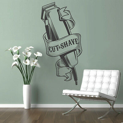 BARBERSHOP WALL STICKER  sign Wall Art Vinyl Decal Sticker Mural BARBER shaver